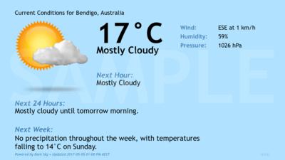 Current Conditions for Bendigo, Australia